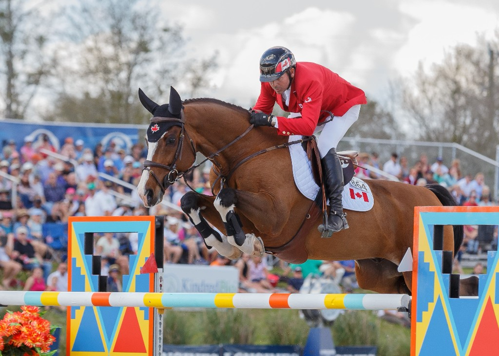 Eric Lamaze was double clear riding in the anchor position for Canada aboard Coco Bongo, owned by Artisan Farms and his own Torrey Pines Stable.  Photo Credit – Starting Gate Communications
