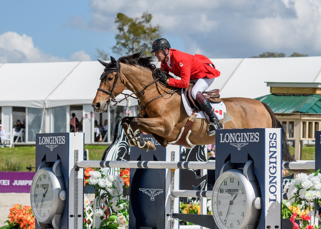 Ian Millar of Perth, ON, delivered double clear rounds for Canada riding Dixson for owner Ariel Grange.  Photo Credit – Starting Gate Communications