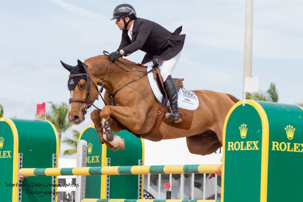 Eric Lamaze going over jump at WEF Challenge Cup Wellington Florida