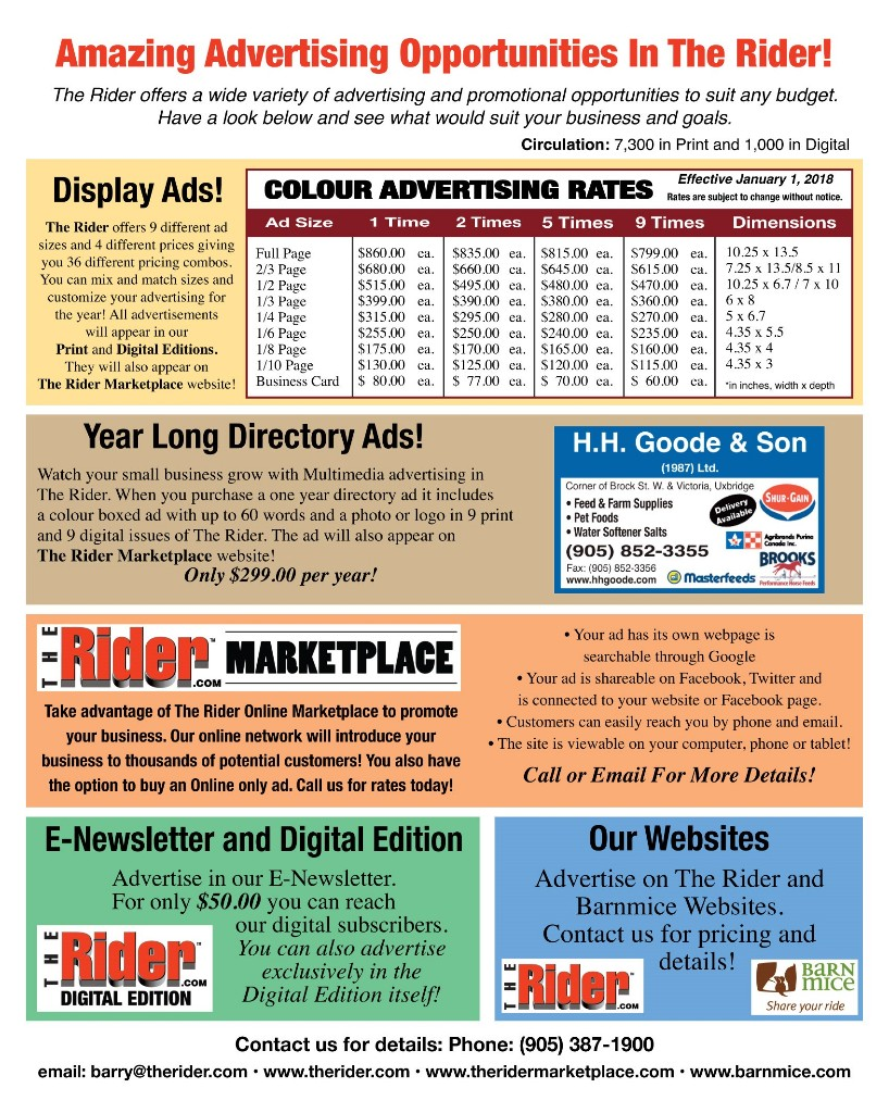 2018 TheRider.com Advertising Rate Card